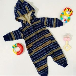 •Carter's• 3M Navy Tribal Hooded Sweater One-Piece